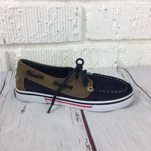 3/$30 NAUTICA Navy & Brown Kids boat shoes size 1